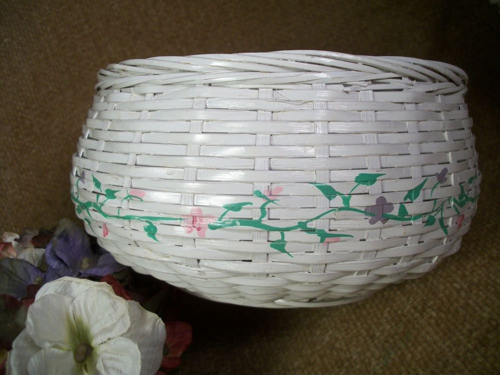 Basket White Wicker Handpainted Spring Flowers Country Home Decor