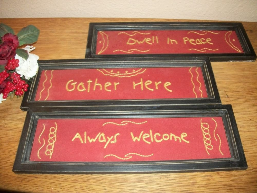 Embroidered Sayings Blessings 3 Rustic Signs Red Black Wall Hanging Home Decor