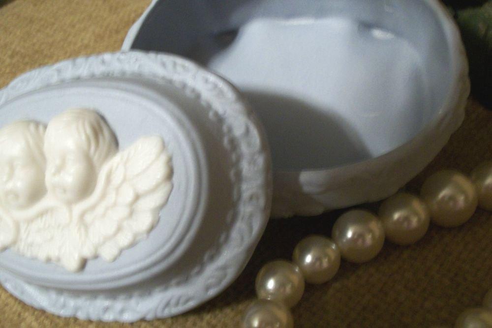 Blue Ceramic Bisque Angel Trinket Box VTG Covered Dish Keepsake Storage Cherubs
