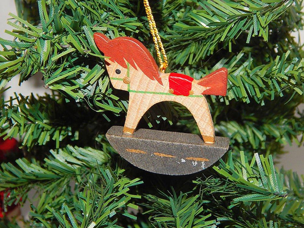 Antique Rocking Horse  Vintage Christmas Tree Ornament Antique Wooden Toy Decor