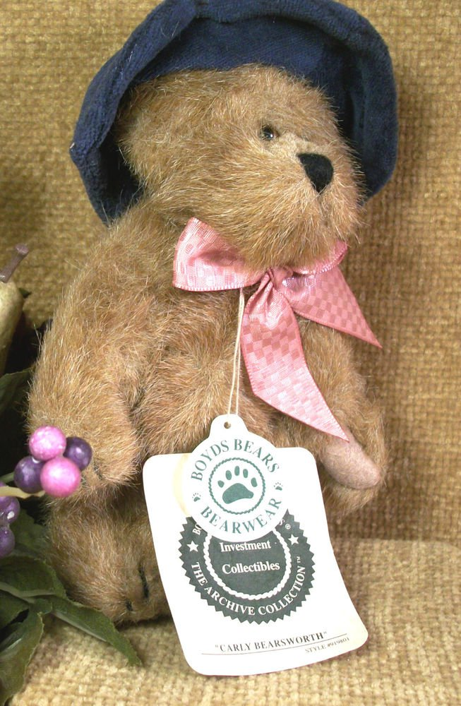 "BOYDS Carly Bearsworth 6"" Plush Bear Stuffed Animal Blue Hat Retired 919801"