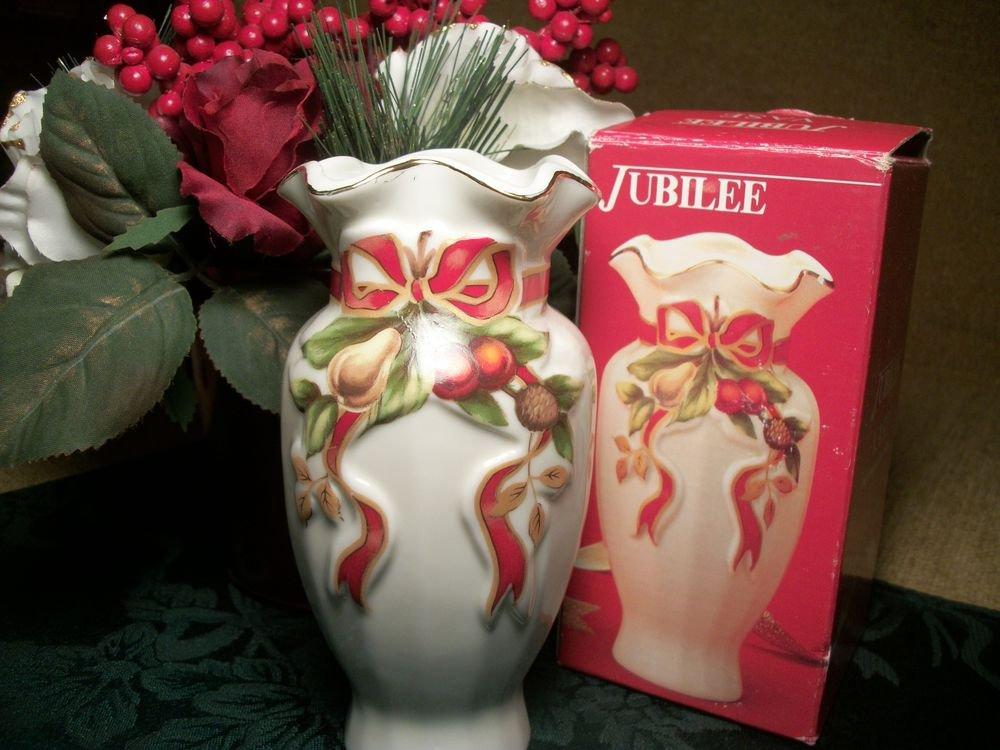 Red and Gold Porcelain Vase Fruit Ribbon Motif Elegant Regal Old World Christmas
