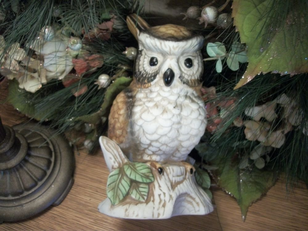 Owl Figurine Brown Beige White Bisque Ceramic Vintage Woodland Bird Home Decor