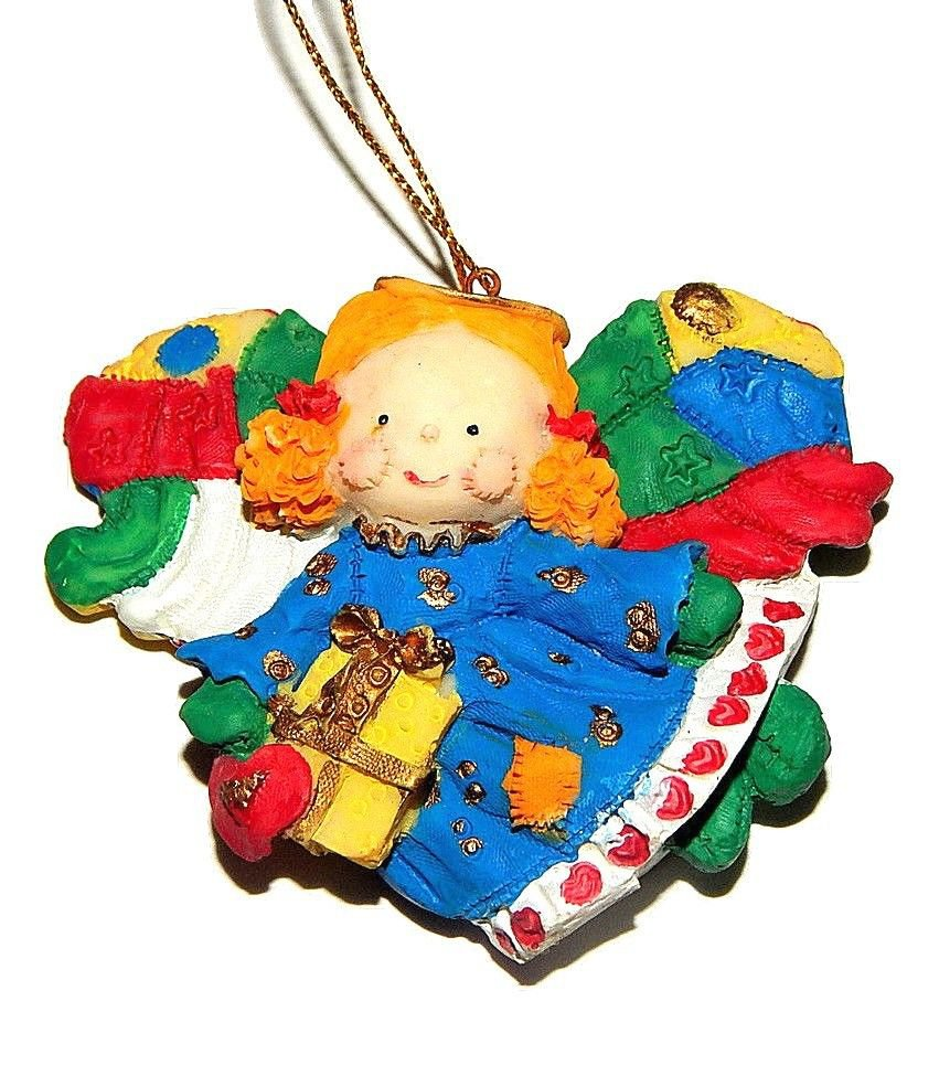 Angel Christmas Tree Ornament Vintage Patchwork Quilt Colorful Handpainted Resin