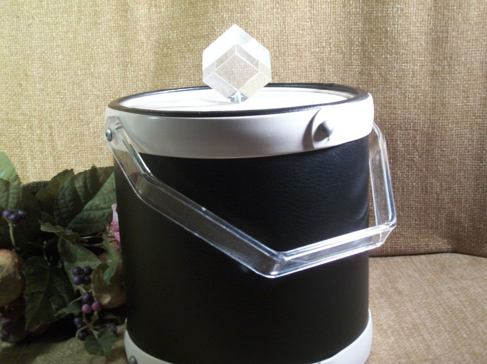 Vintage Ice Bucket Barware Leatherette and Lucite Bucket Brigade by Morgan USA