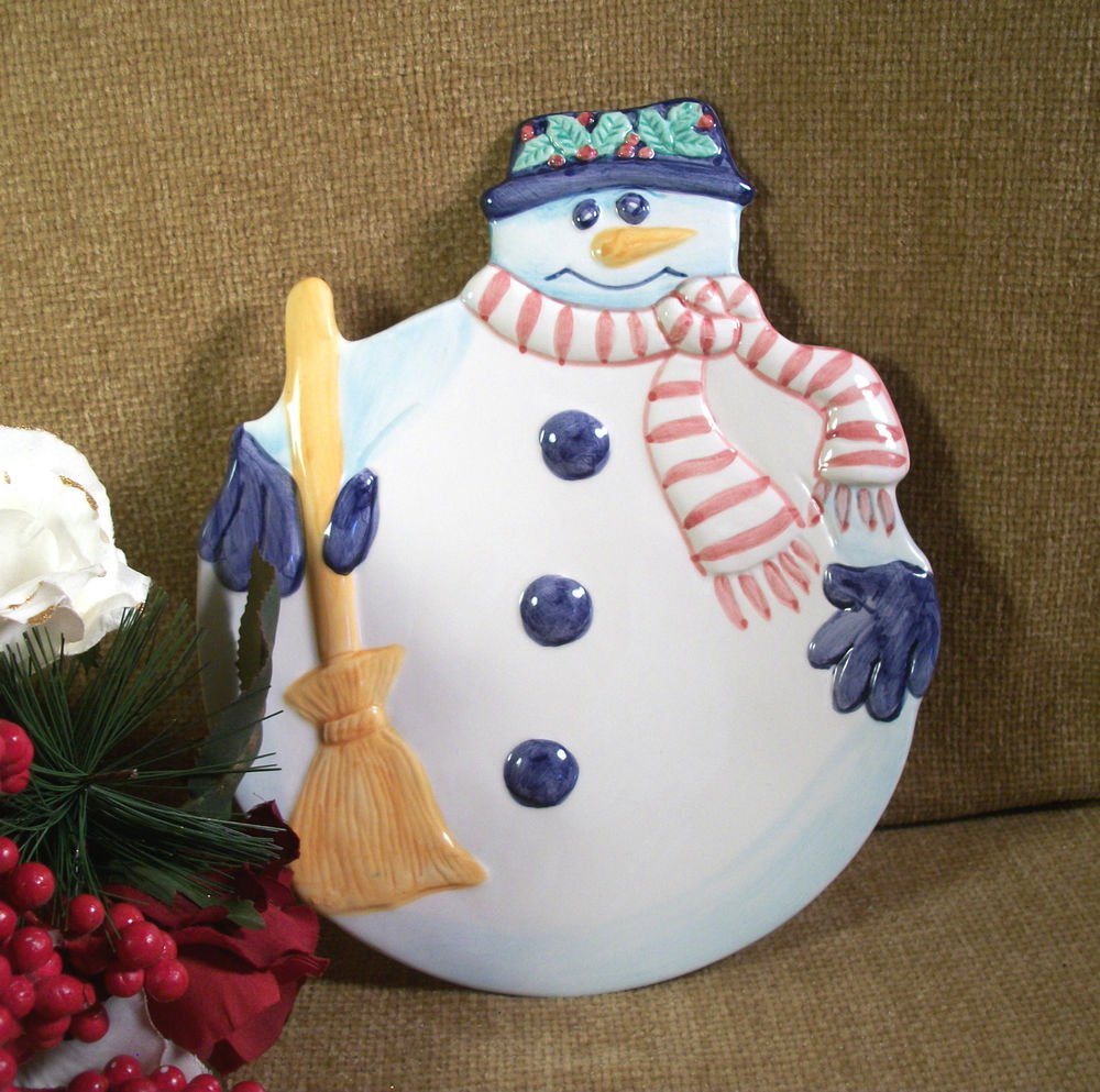 Colorful Ceramic Snowman Serving Tray Decorative Dish Cookies for Santa Plate