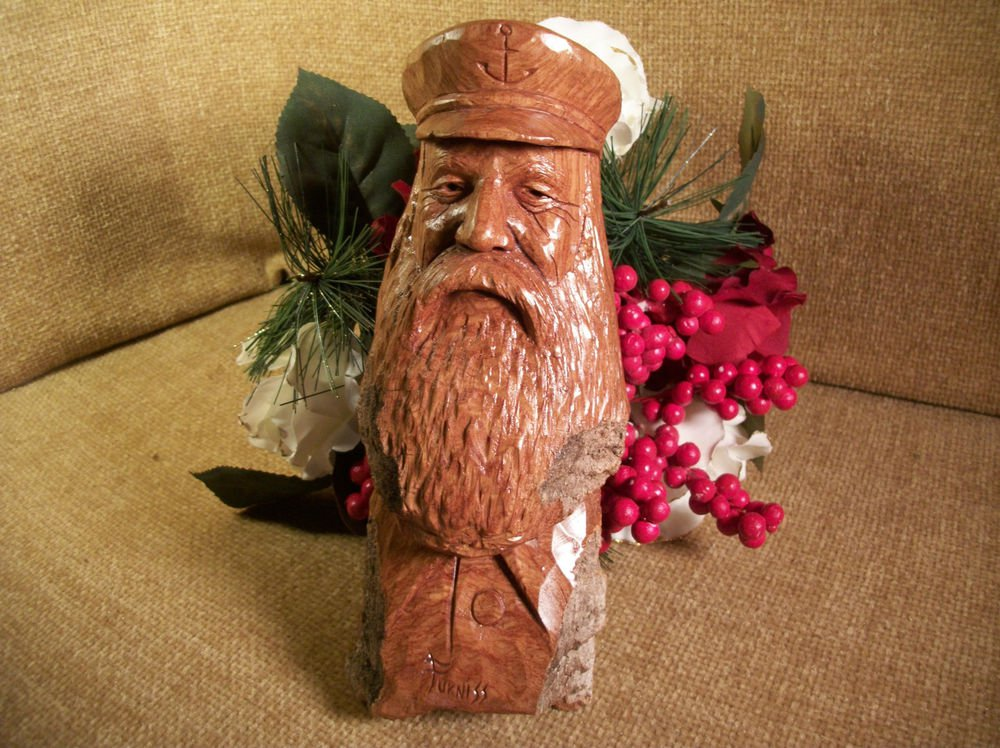 Vintage Craved Wood Sailor Sea Captain by Furniss Nautical Artisan Oak Figurine