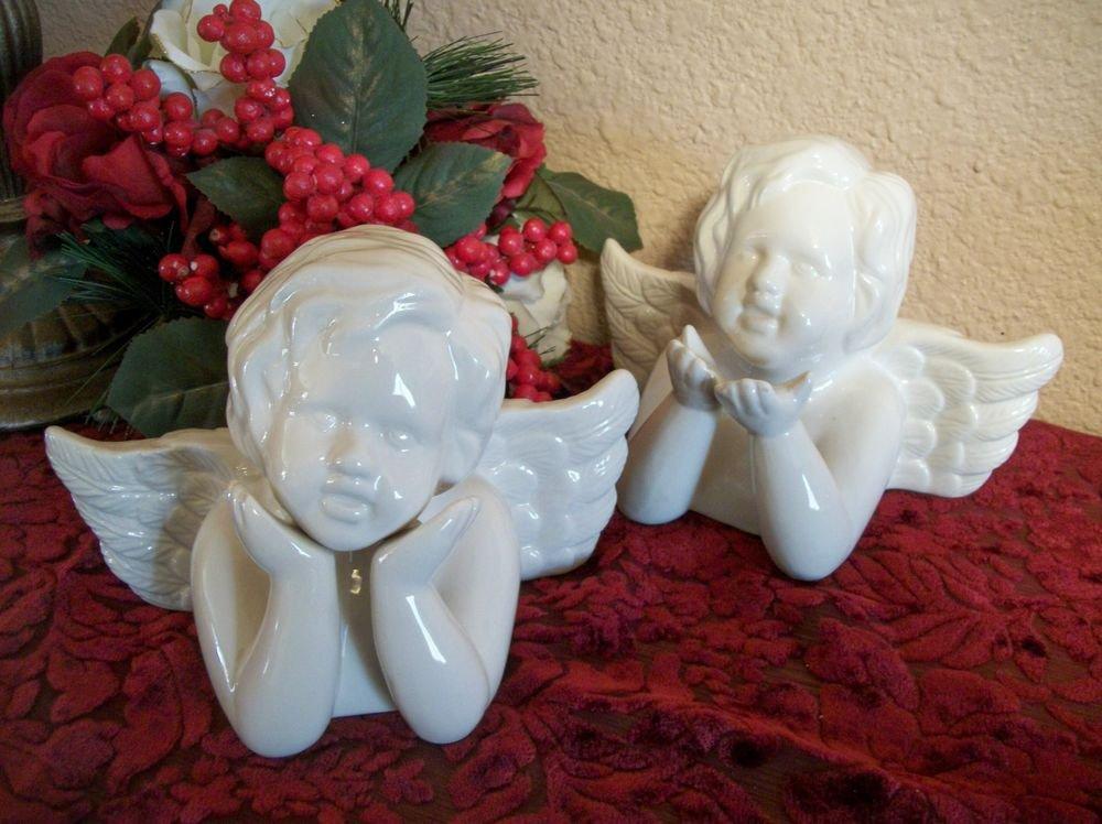 Angel Figurines Two Ceramic Cherubs VTG Victorian Cottage Valentine's Day Decor