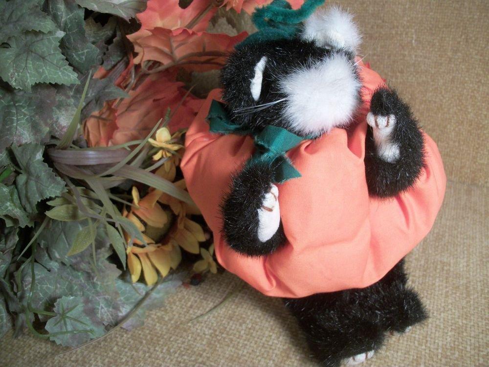 Black Cat Plush Stuffed Animal Pumpkin Costume Hand Crafted Halloween Decor