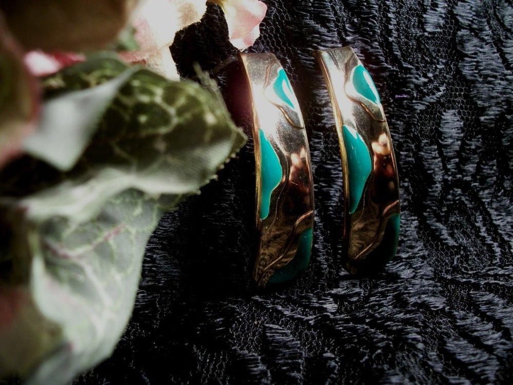 Drop Down Earrings Shiny Bright Gold Metal Teal Green Enamel VTG Fashion Jewelry