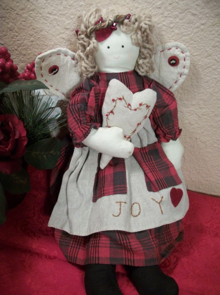 Angel Doll Red Country Cottage Decor Wall Hanging or Shelf Sitter