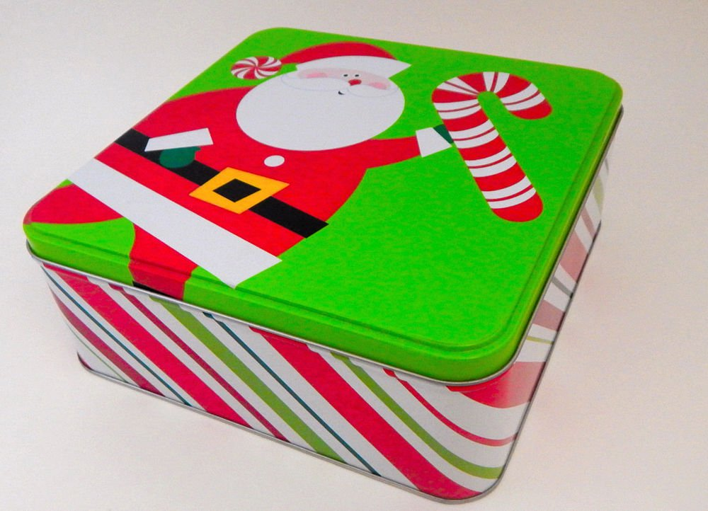 Christmas Cookie Tin Candy Cane Santa Claus Metal Storage Gift Box
