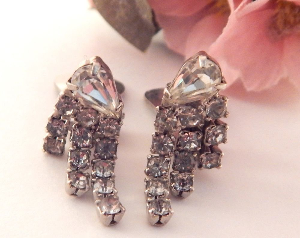 Rhinestone Earrings Dangle Clip On Dropdown Silver Metal Vintage Costume Jewelry