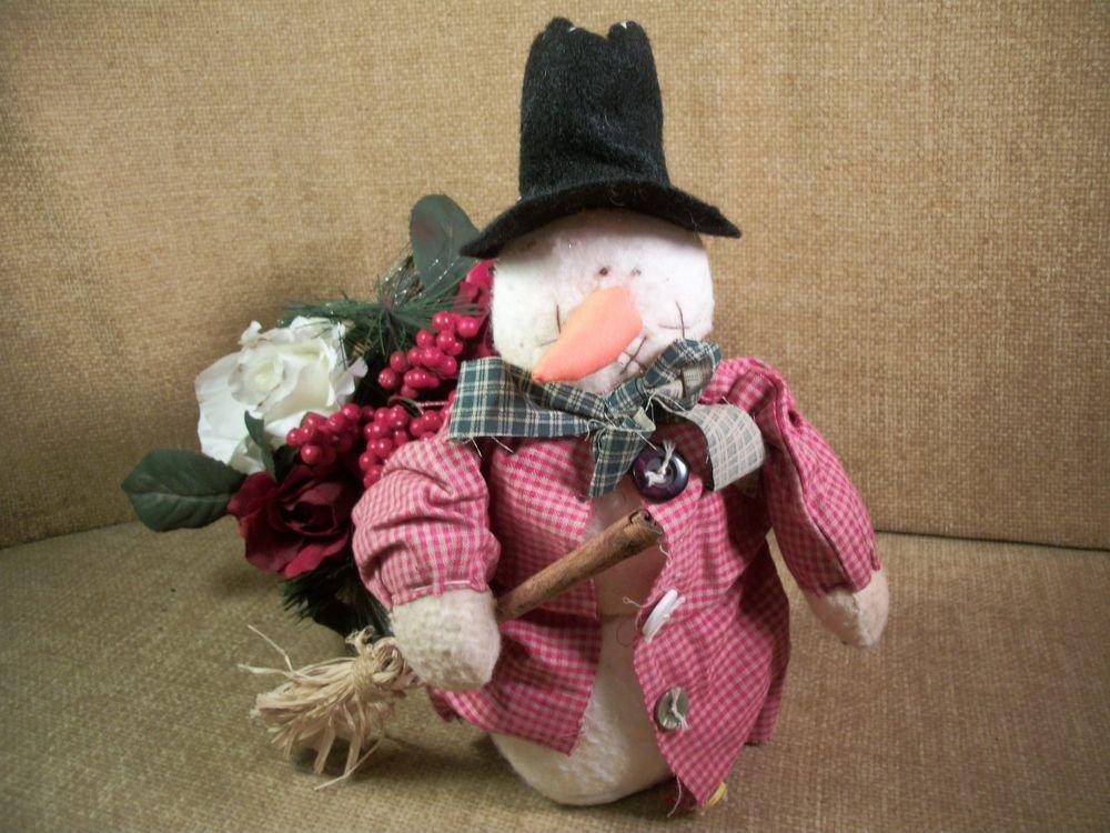 Rustic Fleece Snowman Doll Soft Sculpture Handmade Folk Art Christmas Decoration