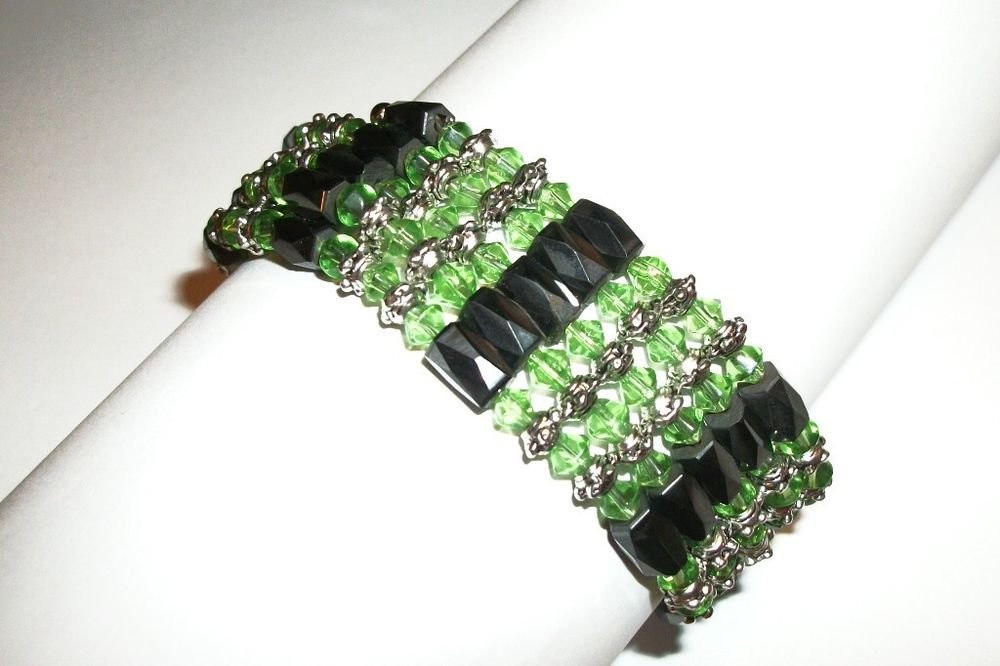 Magnetic Hematite Strand Necklace or Wrap Bracelet Green and Silver Metal Beads