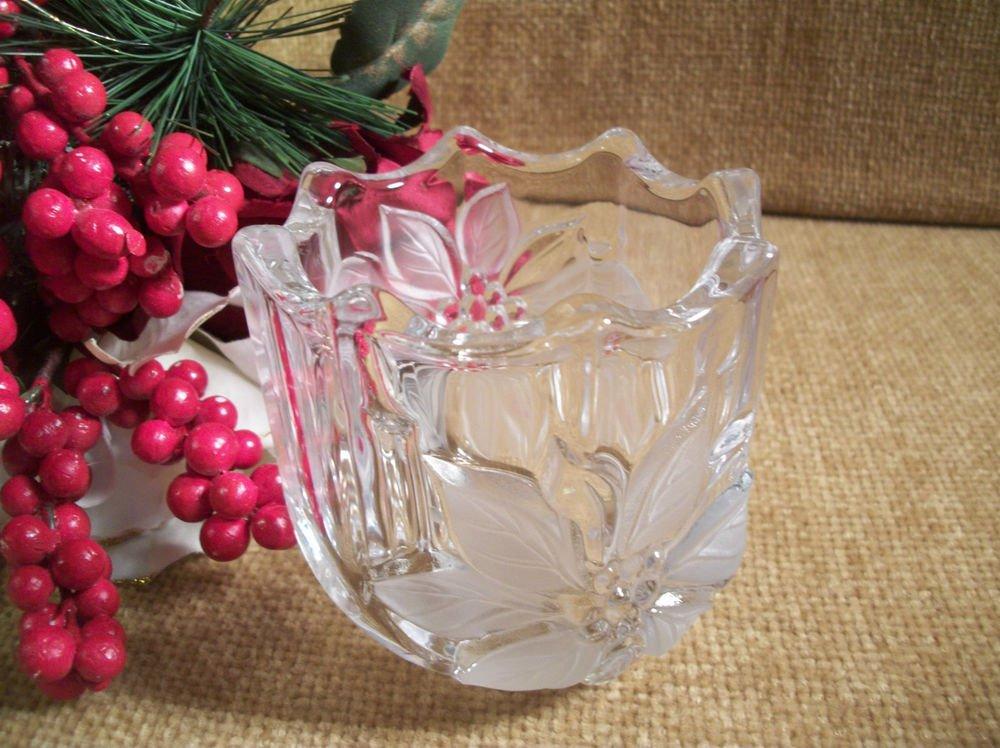 Candle Holder Vintage MIKASA Decorative Glass Poinsettia Flower Winter Decor