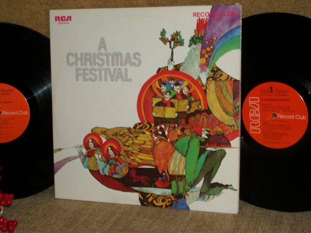 A Christmas Festival Record Vintage RCA Club Two Vinyl LP Albums Holiday Carols