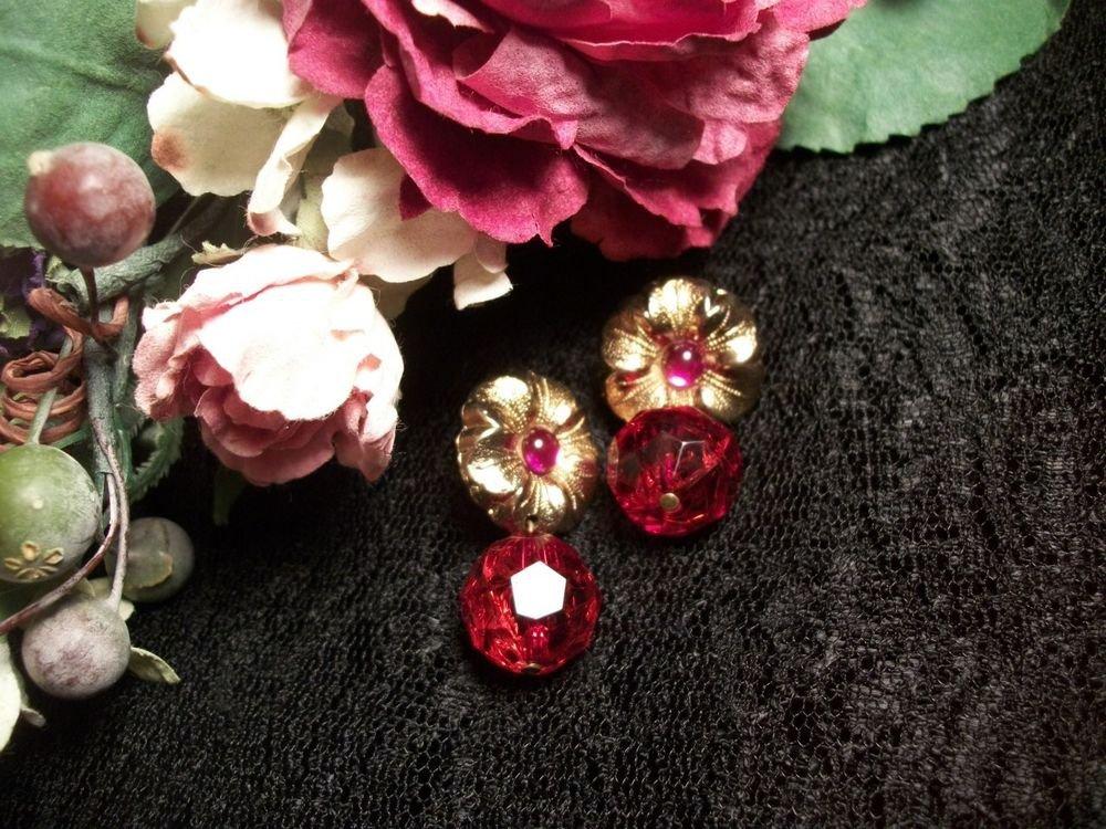 Earrings Red Purple Drop Dangle Disco Ball Flower Pierced VTG Fashion Jewelry