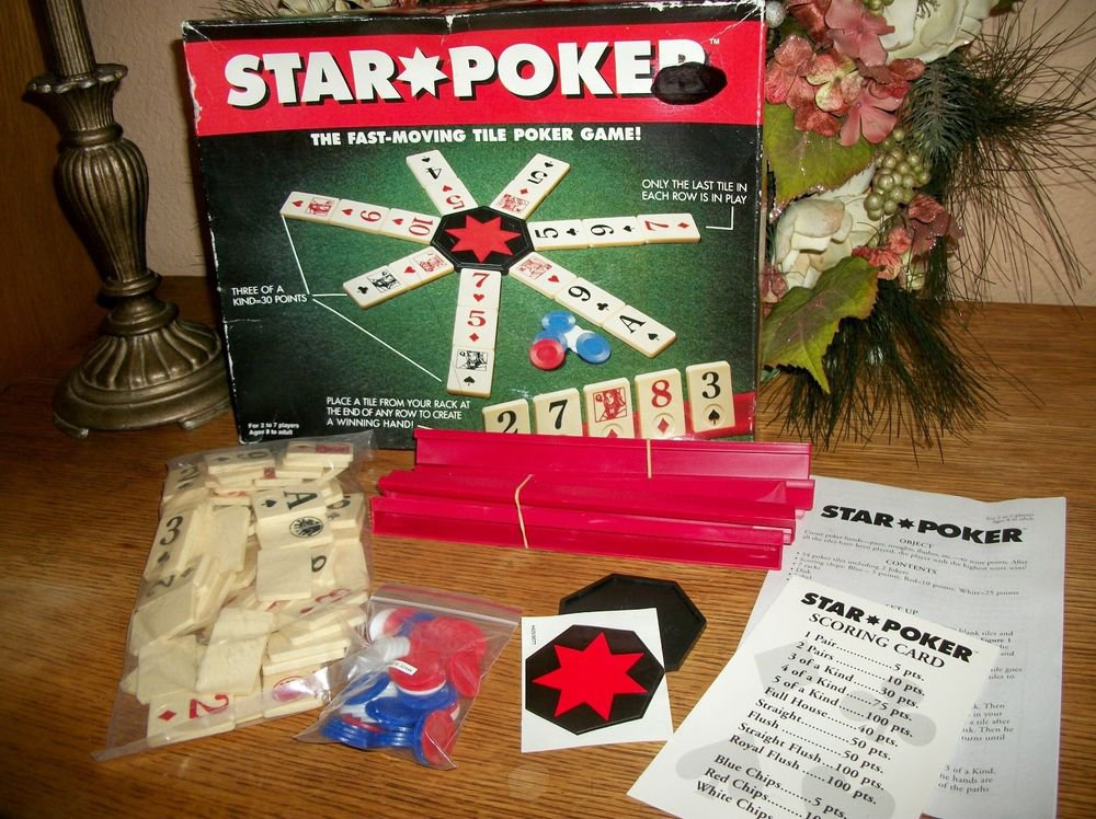 Star Poker Tile Game Family Fun VTG 1994 by Pressman Unused in Tattered Box