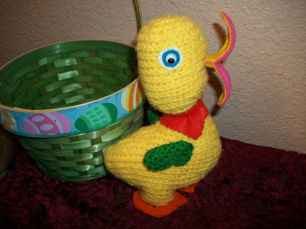 Yellow Duck Stuffed Animal Toy Vintage Handcrafted Crochet Kitsch Decoration