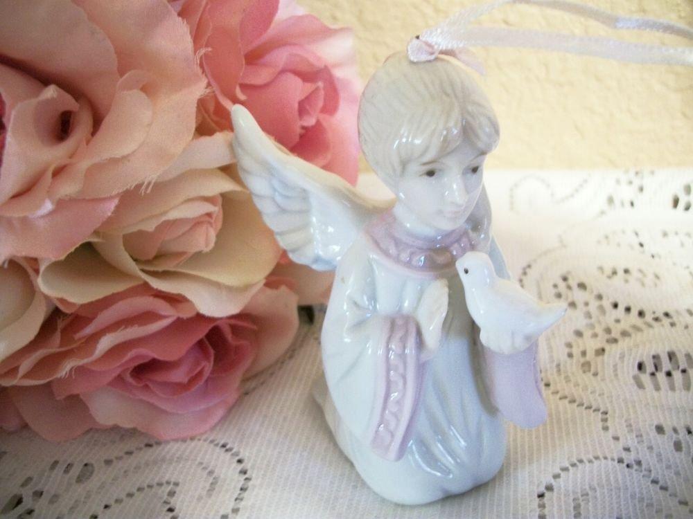 Angel with Dove Figurine Porcelain Praying Girl Ornament VTG 1st Communion Gift