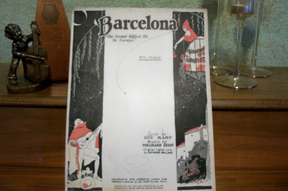 Barcelona Antique 1920's Sheet Music Vocal Piano Guitar Ukulele Spanish Fox Trot