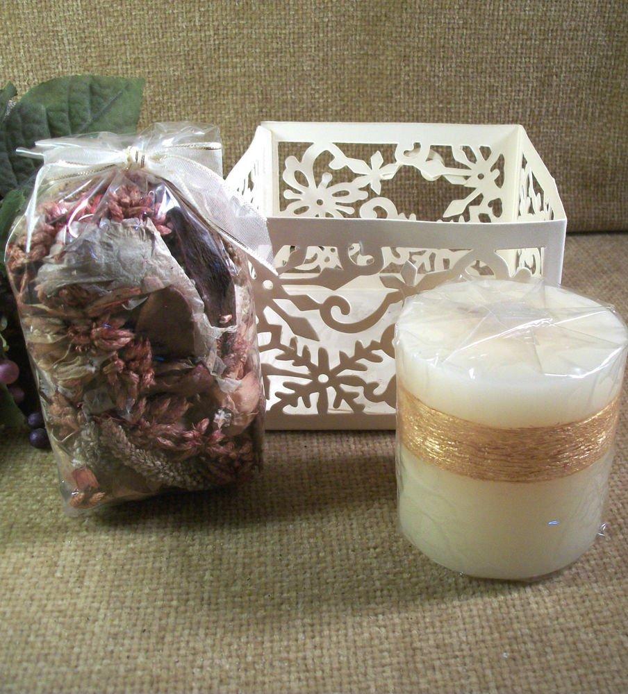 Candle Gift Set Avon Vanilla Spice Scent Pillar w/ Potpourri & Holder Home Decor