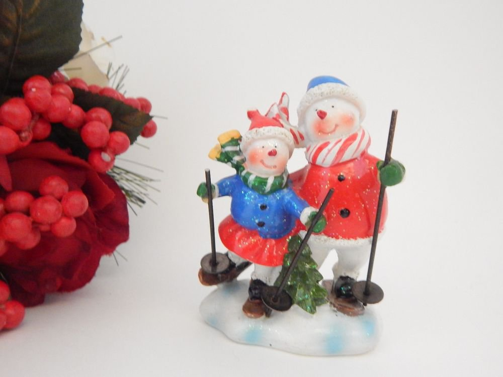 Snowman Couple Skiing Figurine Red White Blue Resin Winter Christmas Decoration