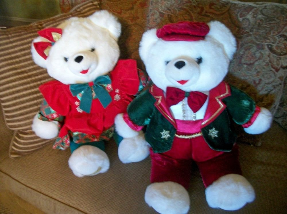 "Snowflake Teddy Bear Pair 22"" White Stuffed Plush Christmas 1997-98 Tb Trading"