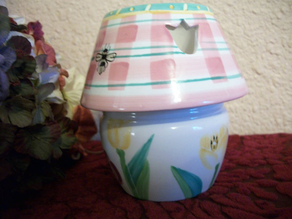 Candle Holder Ceramic Votive Jar and Shade Spring Flowers Pink Yellow Butterfly