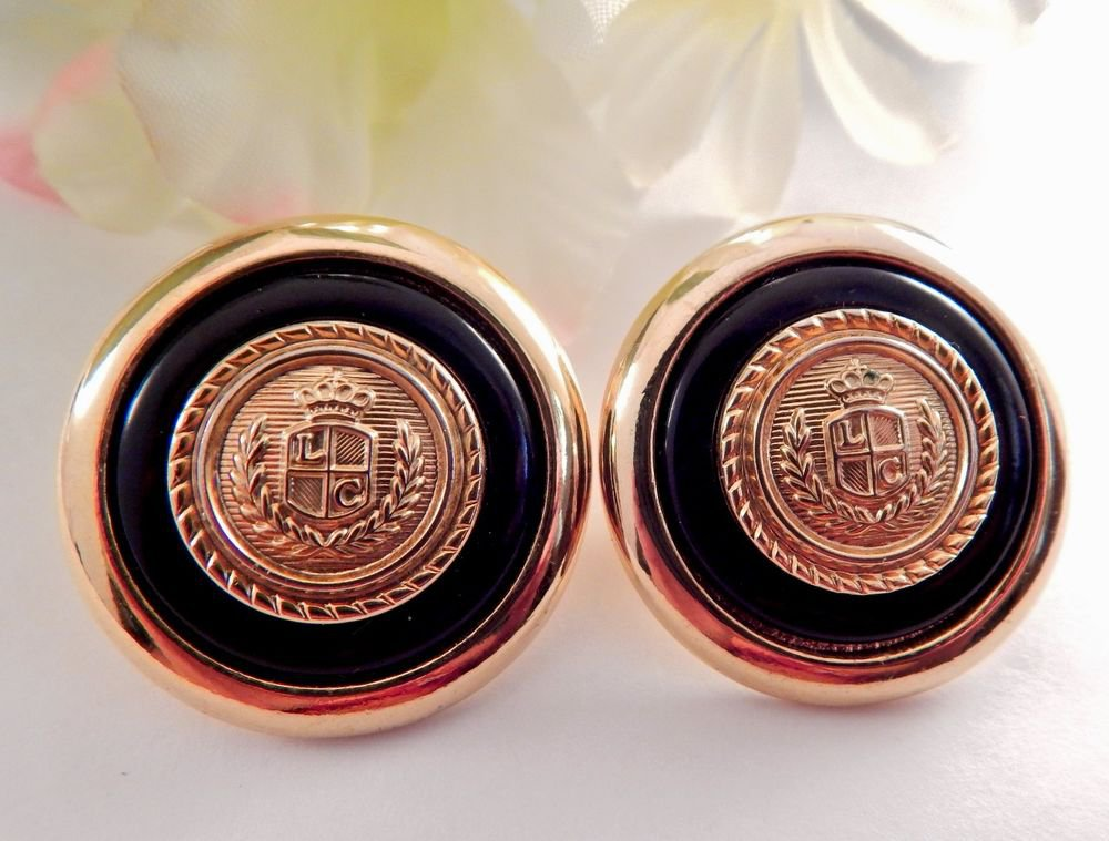 Gold Crest Military Blue Earrings Liz Clairborne Signed Vintage Jewelry Nautical