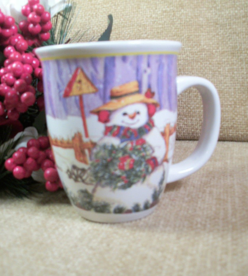 Christmas Coffee Mug Snowman Wreath and Bird House Ceramic Beverage Cup