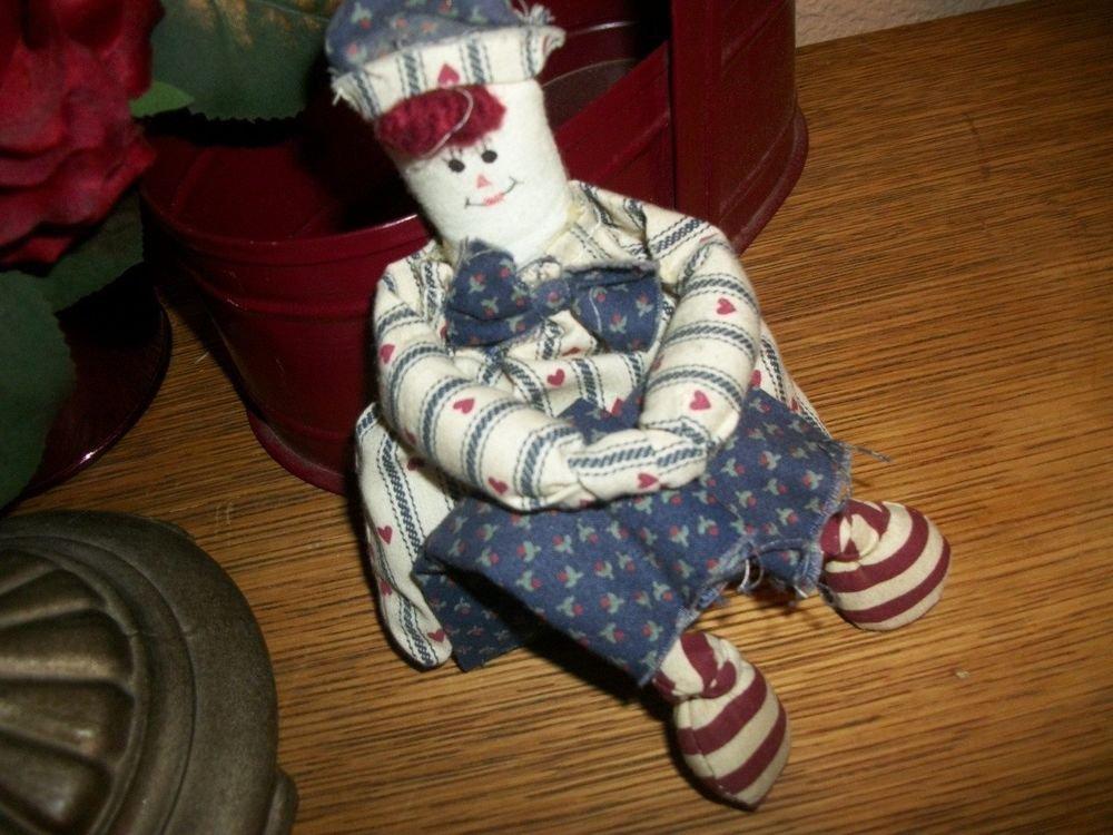Patriotic Primitive Rag Doll Navy Man Boy Sailor Red White Blue Americana Decor