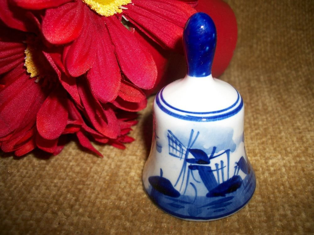 VTG Collectible Bell Dutch Delft Blue White Holland Delftware Pictorial Windmill