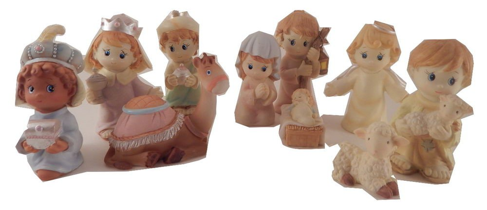 Nativity Set 10 pc NIB Precious Moments Style Figures Christian Christmas Decor