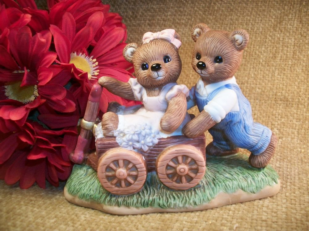Porcelain Playtime Bears Figurine VTG Home Interiors Gifts Brown Bears and Wago