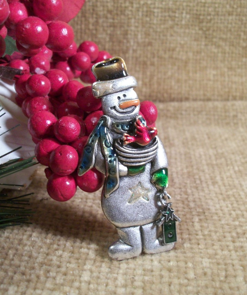Snowman Christmas Pin Vintage TC Signed Jewelry Bird House Nest Pewter Brooch