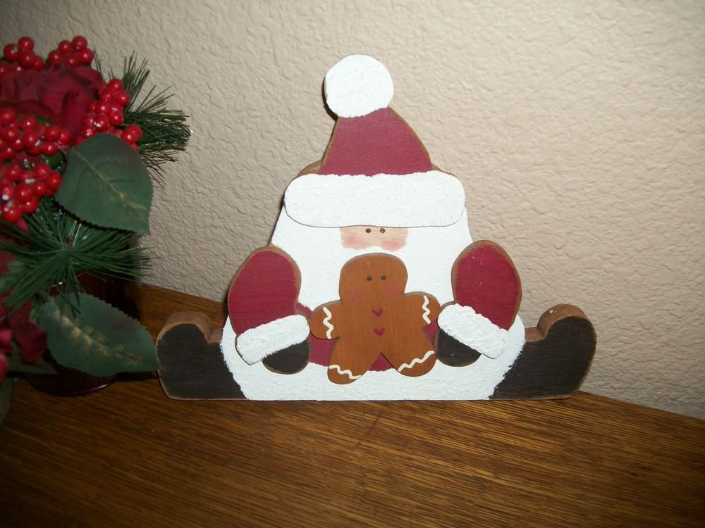 Rustic Wood Santa Claus and Gingerbread Shelf Sitter VTG Hand Crafted Christmas