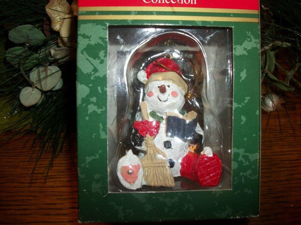Holiday Collection Polyresin Rustic Snowman Christmas Tree Ornament NIB Figurine