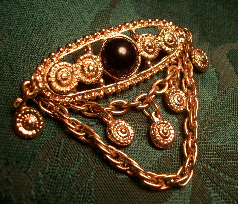 Chatelaine Chain Brooch Brown Cabochon Jewelry Gold Metal Medallion Vintage Pin