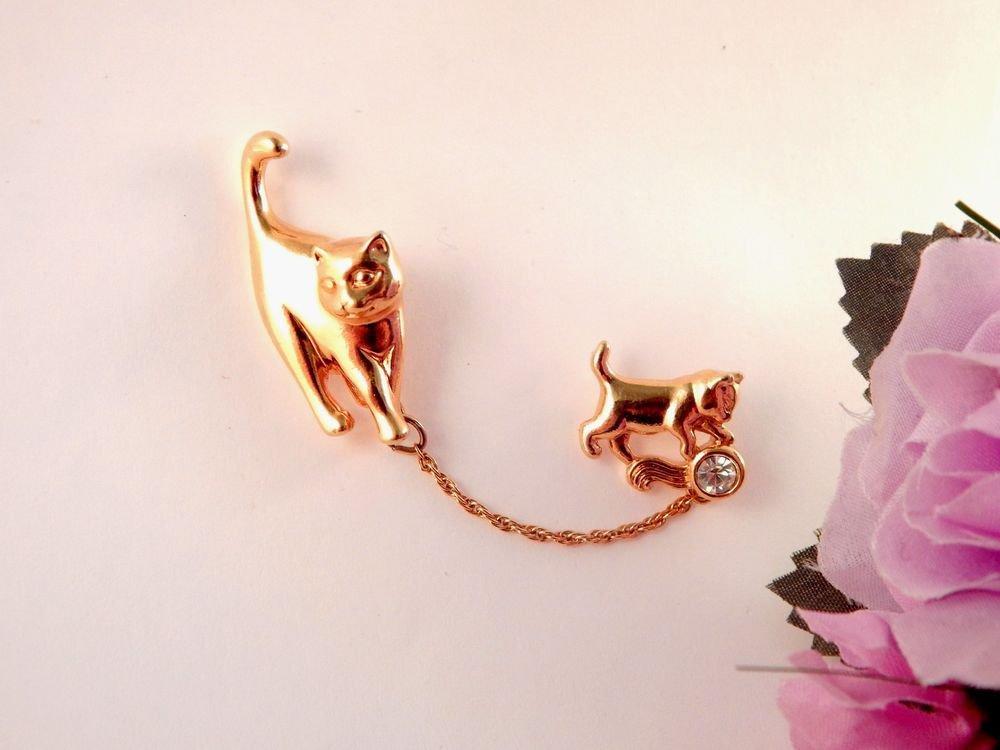 Cat Brooch Gold Metal Chatelaine Kitten Pin Vintage Avon Rhinestone Jewelry