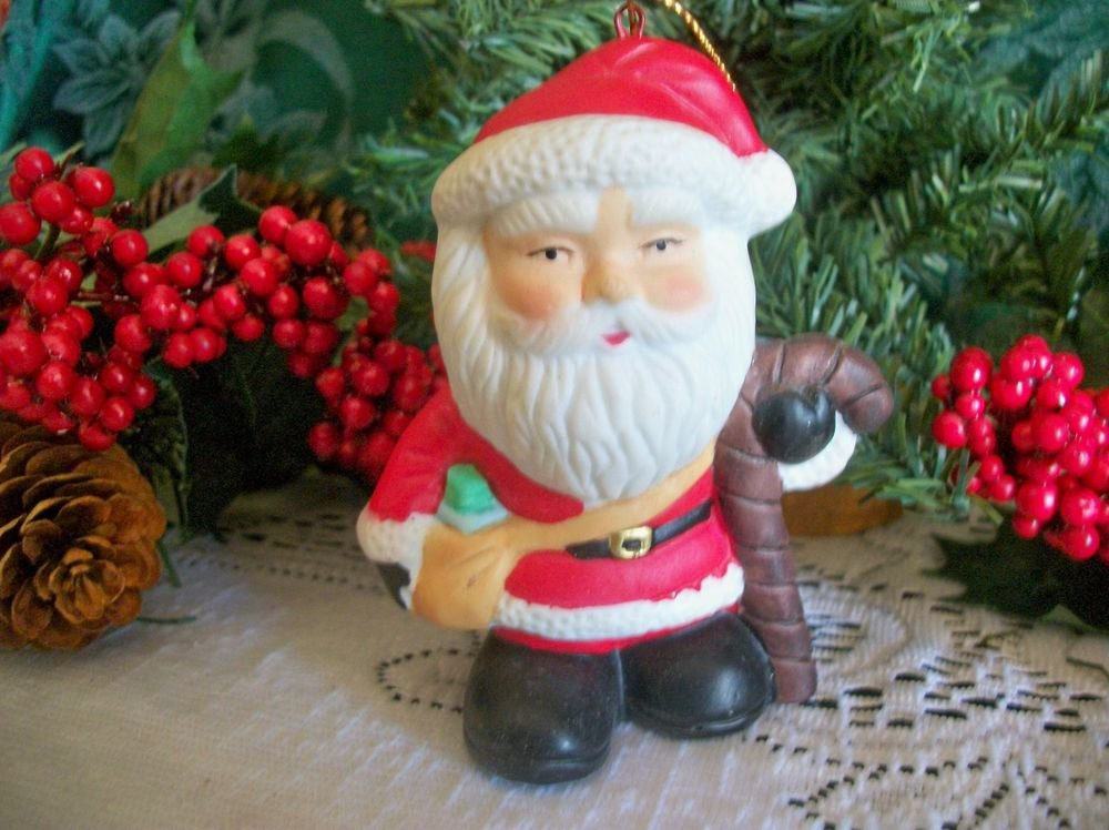 Santa Claus Christmas Tree Ornament Hand Painted Ceramic Figurine Holiday Decor