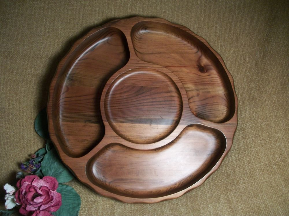 Lazy Susan Sectional Serving Tray Cake Pla Black Walnut Wood Hors d'oeuvres Dish