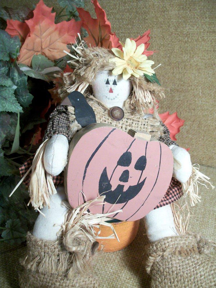 Halloween Doll Scarecrow Girl Jack O' Lantern Pumpkin Fall Decor Muslin Burlap