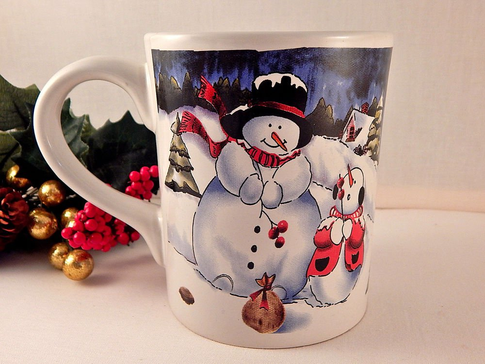 Snowman Snow Child  Mug Ceramic Christmas Serving Cup 19 Oz Hot Cold Beverage