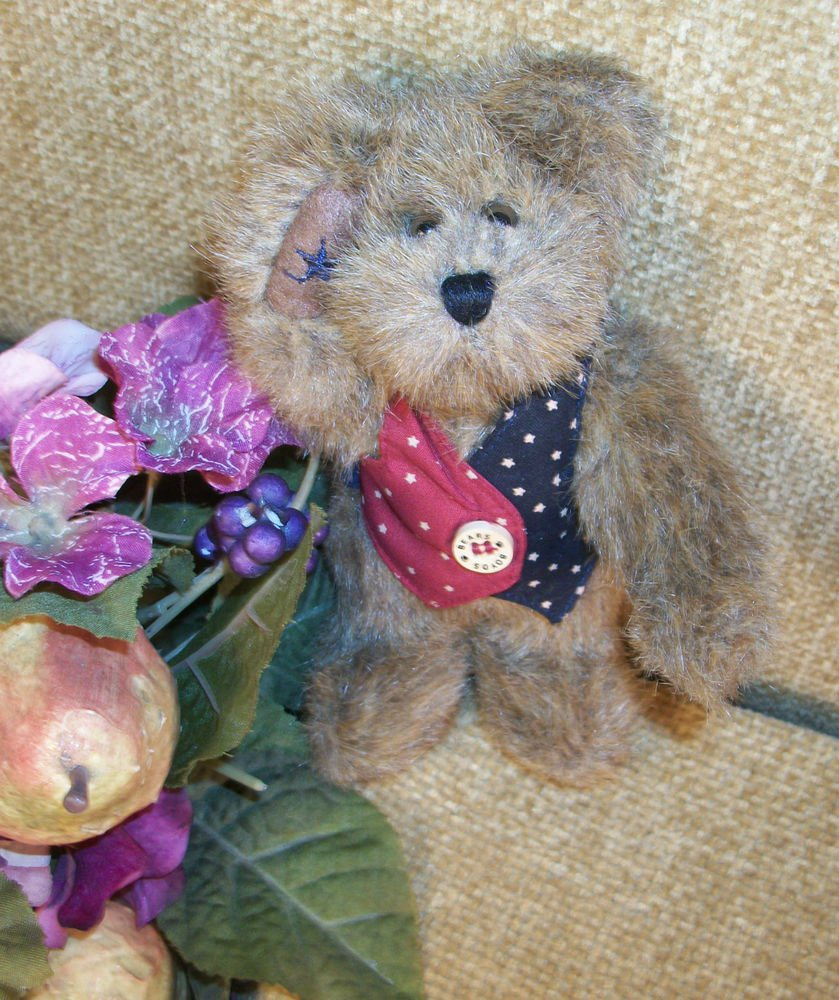 "BOYDS LIBEARTY Bear Saluting I B Bearyproud 6"" Plush Stuffed Animal Retired"
