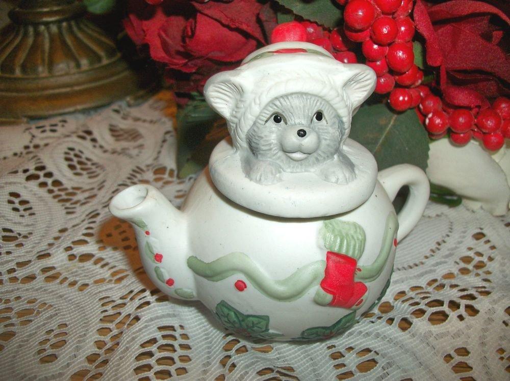 Grey Kitten in Tea Pot Christmas Figurine Hand Painted Ceramic Bisque Cat Kettle