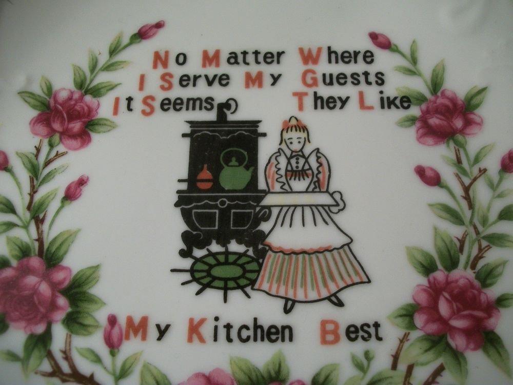 Vintage Mid-Century Wall Plate Kitchen Decor Poetry Plaque Porcelain Ceramic