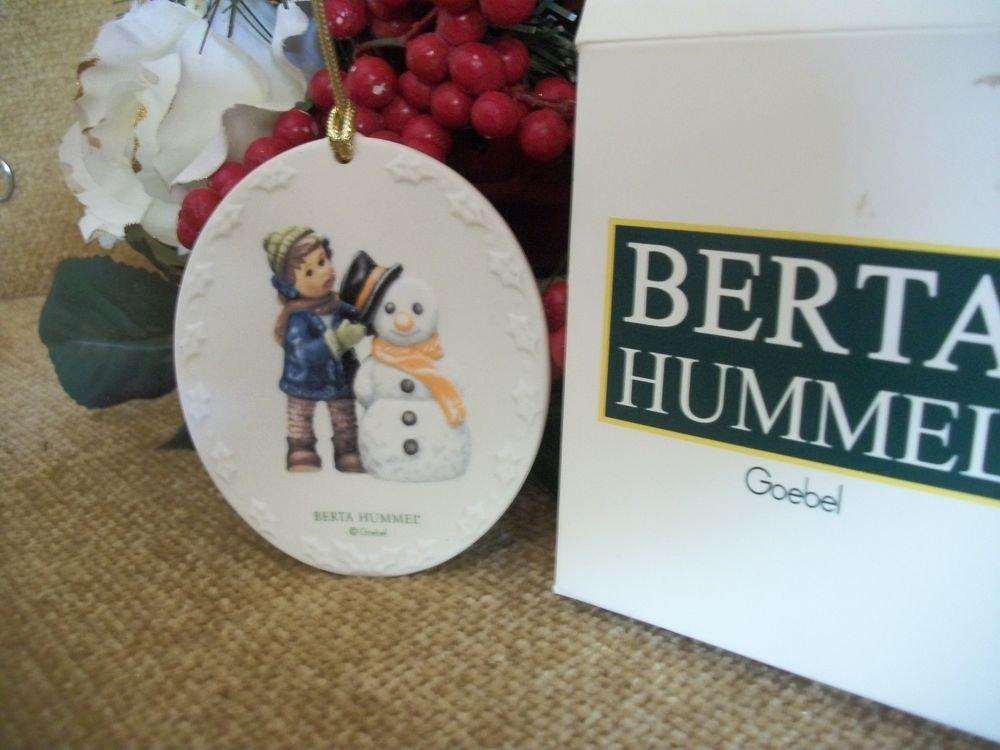 Hummel Collectible Porcelain Christmas Ornament 2002 Perfect Fit Hat Boy Snowman