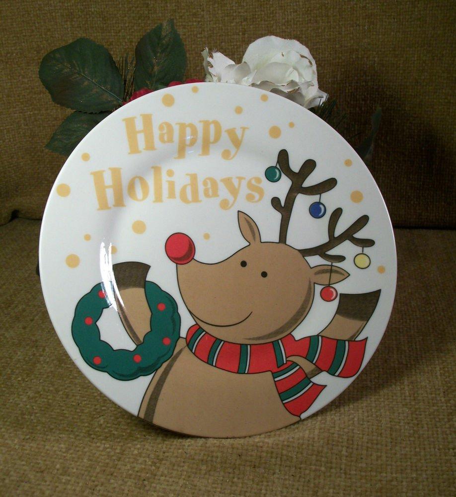 Rudolph Reindeer Happy Holidays Ceramic Plate Christmas Tableware Snack Dish